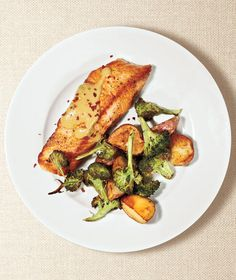 Roasted Salmon, Broccoli, and Potatoes With Miso Sauce | A Stress-Free Monthly Meal Planner | Real Simple