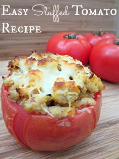 Easy stuffed tomato recipe - This easy recipe is the perfect meal plan addition. Healthy Recipes, Low Carb Recipes, Baking Recipes, Healthy Meals, Baked Parmesan Tomatoes, Fresh Tomato Recipes, Stuffed Tomato Recipes, Vegetable Dishes, Vegetable Recipes