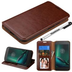MOTOROLA G4 PLAY (Verizon) CASE , Phonelicious Tm Wallet PU Leather Case Premium Pouch ID Credit Card Cover Flip Folio Book Style with Money Slot +Pen (BROWN FOLD) - Brought to you by Avarsha.com