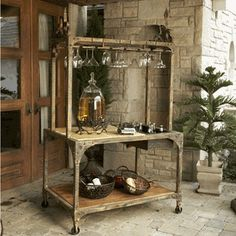 This can be used either indoors or outdoors!  It has a combination of wood, marble and wrought iron.  Every piece is hand painted and one of a kind!