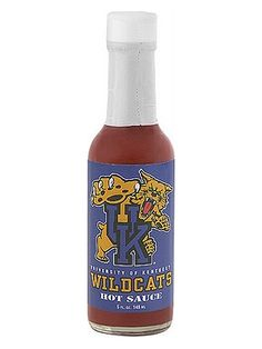 Kentucky Wildcats Hot Sauce is officially licensed by the University of Kentucky, making it perfect for tailgating and giving as a gift to students, alumni and fans of UK. It's all-natural, and made with cayenne peppers in the classic Louisiana hot sauce style. Buy on sale for only $6.45 here: http://www.carolinasauces.com/Kentucky_Wildcats_p/1834ky.htm