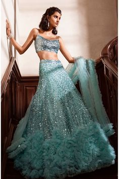 Iceblue top and hand embroidered lehenga with ruffles Party Wear Indian Dresses, Indian Wedding Wear, Indian Gowns Dresses, Indian Bridal Outfits, Party Wear Lehenga, Indian Fashion Dresses, Dress Indian Style, Wedding Dresses For Girls, Indian Designer Outfits