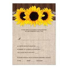 Coordinated Rustic Sunflower Wedding RSVP Card