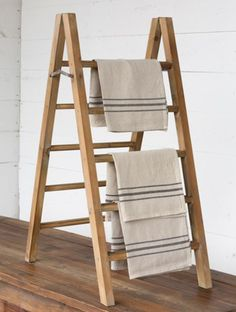Our Tabletop A-Frame Display Ladder is a decorative display piece for your home or shop. Visit Antique Farmhouse for more display ladders and other vintage-inspired decor ideas! Table Top Display, Wood Display, Frame Display, Ladder Display, Display Ideas, Towel Display, Booth Ideas, Vintage Home Decor, Diy Home Decor