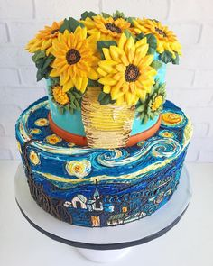 Van Gogh Cake by Tasteful Cakes Pretty Cakes, Cute Cakes, Beautiful Cakes, Amazing Cakes, Beautiful Flowers, Crazy Cakes, Fancy Cakes, Sunflower Cakes, Painted Cakes