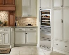 "Napa kitchen with True Residential 24"" Refrigerator Drawers and Dual Zone Wine Cabinet"