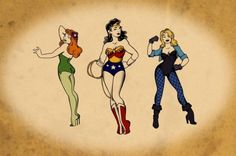 Poison Ivy, Wonder Woman, and Black Canary pin up
