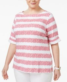 Karen Scott Plus Size Printed Boat-Neck Top, Only at Macy's - Orange 2X