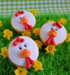 Kippen cupcakes, how to Fondant Toppers, Fondant Cupcakes, Cupcake Cakes, Cupcake Toppers, Oster Cupcakes, Vanille Cupcakes, Chicken Cupcakes, Cupcake Recipes From Scratch, Kolaci I Torte