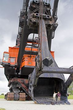 Big Brutus is a Bucyrus Erie model 1850B and is the largest electric shovel in the world. 16 stories tall (160 feet) weight 11 million pounds with a boom 150 feet long and dipper capacity 90 cu. yds (by heaping, 150 tons — enough to fill three railroad cars.) It travels at a maximum speed of .22 MPH and cost $6.5 million (in 1962)