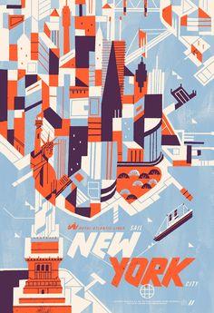"Royal Atlantic Lines (Sail) : ""New York City"" ~ Illustration by Kevin Dart USA). Autumn Illustration, City Illustration, Graphic Design Illustration, Illustration Styles, Kevin Dart, New York Poster, Bg Design, Vintage Travel Posters, Retro Posters"