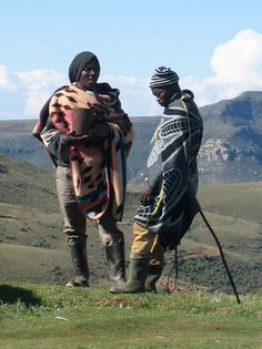 The Basotho people also known as Sotho, are Bantu people of the Kingdom of Lesotho (lusō& an enclave within the Republic of South Africa. African Culture, African Art, African Style, African Prints, Two Men, Jolie Photo, My Heritage, People Of The World, African Fashion