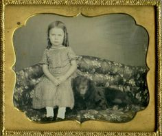 Beautiful Daguerreotype of A Lovely Girl Her Big Black Dog on Sofa by McElroy | eBay