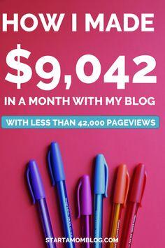 How I made over $9,000 with a small blog November Income Report www.startamomblog.com
