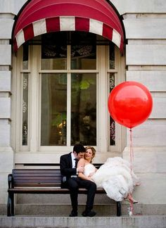 big red balloon and wedding photo   not sure why i like it but i do