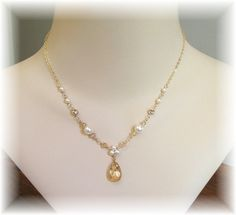 Golden Hue Trinity Pearl Teardrop Necklace, Choice of 14K Gold Filled or Sterling Silver, White or Ivory Pearls Available  more yellow? $33