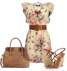 See more Summer gown, belt, hand bag and high heel sandals for ladies