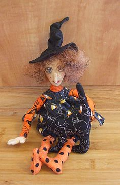 Primitive Halloween  Folk Art Witch Art Doll And by Skunkhollow