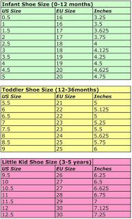 crochet slipper size chart child