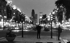 """Kurfürstendamm, the """"main street"""" of West Berlin, looking east toward the Kaiser Wilhelm Memorial Church at night. The cross street is probably Joachimstalerstrasse. I believe this photo is a postcard. West Berlin, East Germany, Socialism, Main Street, History, Travel, Cold War, Google Search, Night"""