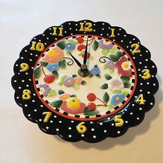 "Mary Engelbreit ME Ink 2000 Cherries Polka Dot Flowers Wall Clock Plate 6.5"""