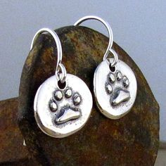 Paw Print Earrings Sterling Silver - Dog Paw Jewelry - Animal Love Earring on Etsy, $26.00
