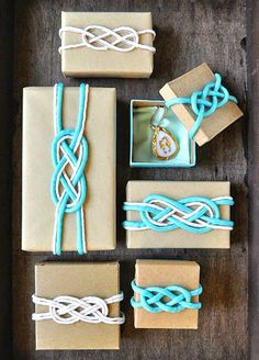 Tie the Knot this Christmas. Nautical Knot Gift Wrapping Ideas: http://www.completely-coastal.com/2014/11/nautical-knot-gift-wrapping.html