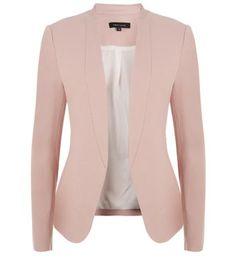 Blush collarless blazer