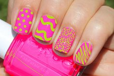 neon pink and yellow squiggles, fun for a summer beach day!