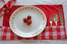 Reusable Utensil Napkin Placemat Picnic Roll Wrap in Red and White Gingham Fabric (Set of 2). $30.00, via Etsy.