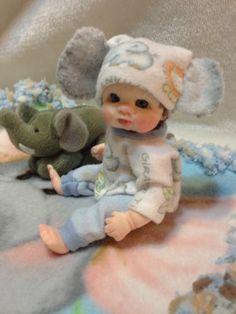 5 inch Artist Partial Sculpt OOAK  Polymer Clay Baby  Boy by Marvel Rostar.