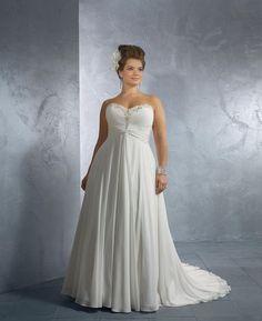 Chapelle Junon empire sweetheart perles Floor-Length Taille Plus robe de mariée