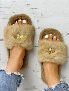 Shop Fluffy Metallic Embellished Open Toe Slippers right now, get great deals at joyshoetique Embellished Heeled Sandals, Single Strap Heels, Fluffy Shoes, Fuzzy Slippers, Shoe Collection, Women's Shoes Sandals, Flats, Fashion Accessories, Creations