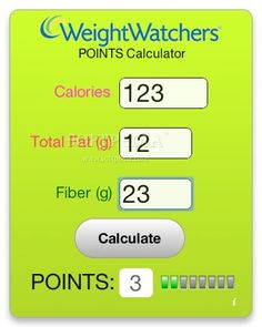 Weight Watchers Points Calculator link http://www.calculatorcat.com/free_calculators/weight_watchers_calculator.phtml