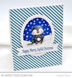 MFT_Penguins-Kit2c_Deb-Olson Christmas Cards 2018, Christmas Card Crafts, Xmas Cards, Christmas Art, Holiday Cards, Greeting Cards, Penguin Day, Mft Stamps, Winter Cards