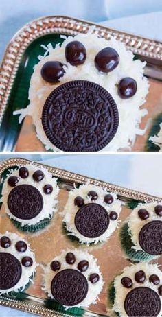 Ideas para Cumpleaños - Muffins con huellas de oso polar