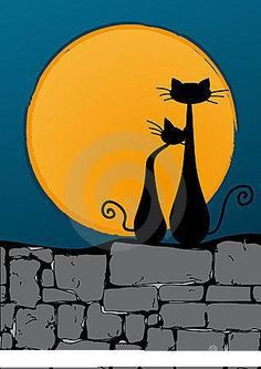 Moon and Cats for Holloween!!