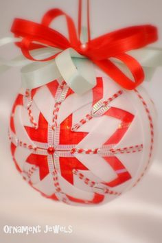 Shiny handmade christmas fabric ball by CandylandOrnaments on Etsy, $19.50