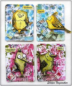 Eclectic Paperie: Crazy Birds ATCs  Next I stamped Crazy Birds and colored them with Distress Inks. Fussy cut them and adhered on ATCs.