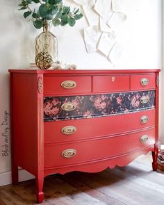 Pomegranate is the name of our bold, cheerful red. It brightens up a piece and is a perfect red for this season! . . MudPaint has a smooth, velvety matte finish. You can find it at MudPaint retailers near you or online at MudPaint.com! . . Dresser by: @blushandivydesign . Red Painted Furniture, Vintage Furniture, Decoupage Drawers, Dresser Inspiration, Red Dresser, Burgundy Wine, Farmhouse Furniture, Furniture Makeover, Pomegranate