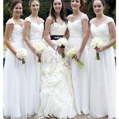 Long White Cap Sleeve Simple Elegant Chiffon Wedding Party Cheap Bridesmaid Dresses. RG0049