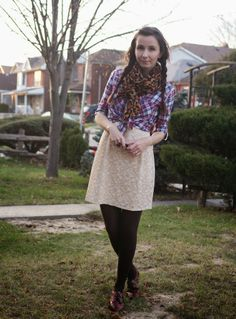 #OOTD with a sparkly dress, plaid button up, and leopard print scarf.