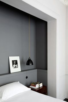 Grey feature wall in white bedroom, built ins? Renovation Inspiration: Make the Most of Your Bedroom with Smart Built-Ins Home Bedroom, Bedroom Decor, Master Bedroom, Bedroom Nook, Bedroom Ideas, Modern Bedroom, Gray Bedroom, Bedroom Lighting, Bedroom Furniture