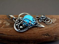 Love  Fine Silver Pendant Necklace with Turquoise by SkyAndBeyond