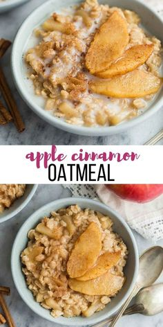 This Apple Cinnamon Oatmeal recipe is a hearty healthy breakfast recipe that is loaded with tender apples and fall spices Gluten free and dairy free plus meal prep breakfast friendly breakfast oatmeal healthy recipe healthyrecipe # The Oatmeal, Apple Cinnamon Oatmeal, Cinnamon Apples, Oatmeal With Apples, Yummy Oatmeal, Vegan Oatmeal, Healthy Oatmeal Recipes, Healthy Breakfast Recipes, Apple Recipes