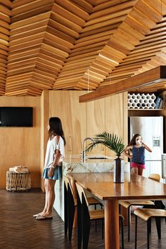 ceiling // timber // herringbone
