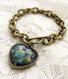 Peacock Feather Heart Bracelet <3