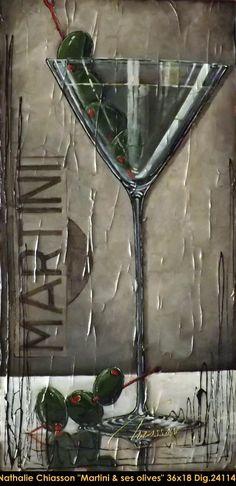 Original multi-media painting on canvas by Nathalie Chiasson. Nathalie Chiasson original acrylic painting on canvas #nathaliechiasson #art #artist #canadianartist #quebecartist #originalpainting #acrylicpainting #martini #multiartltee