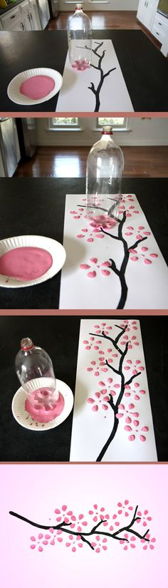 Soda Bottle Cherry Blossom Wall Art