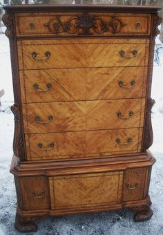 Satinwood Chippendale style Antique Dresser Vintage Chest of Drawers Marquetry #Chippendale